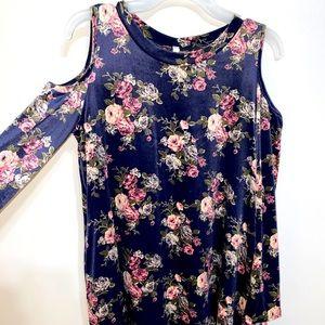 LongSleeve open shoulder knee length velvet dress